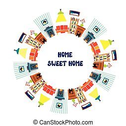 Home interior card with frame for the text - vector graphic...