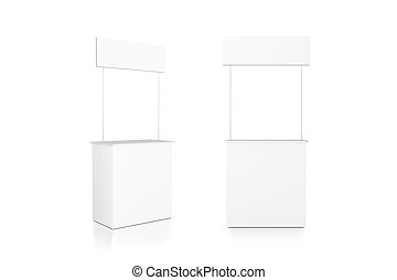 Blank white promo counter mockup stand, front and side view,...