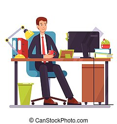 Vector flat illustration of a man working on the computer at...
