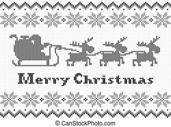 black and white Christmas knit greeting card
