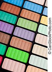 violet and green make-up eyeshadows