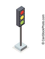 Isometric Traffic Light Icon - Isometric traffic light icon....