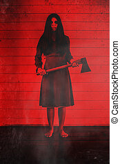 Girl with hatchet - Scary background for halloween concept...