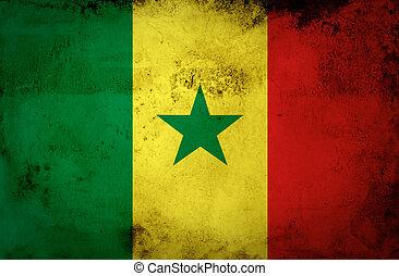 Senegal Flag on old paper