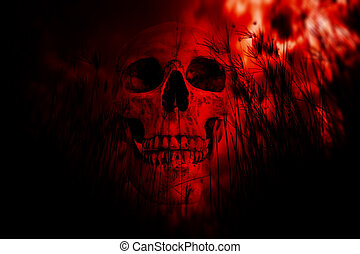 Human skull in the woods - Horror Background For Halloween...