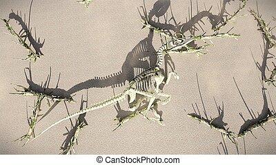 t-rex-skeleton, interpretación, Haya, acostado,  3D