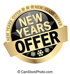 Button New Years Offer - colored button with banner and text...