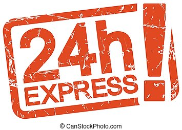 red stamp with text 24h Express - grunge stamp with frame...