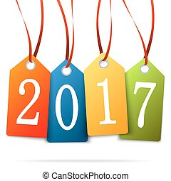 hanging numbers new year 2017 - colored hang tags with...