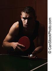 Closeup ping pong, table tennis player, a serious young man...