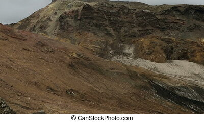 Glaciers on the slopes of active volcano Mutnovsky stock...