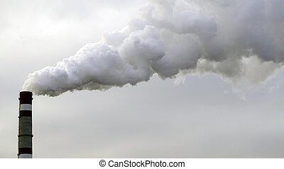 industrial, cielo, chimeneas, ambiente, Contaminar, tóxico,...