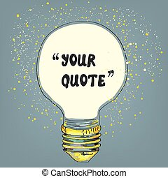 Lightbulb with the frame for the quote - vector graphic...