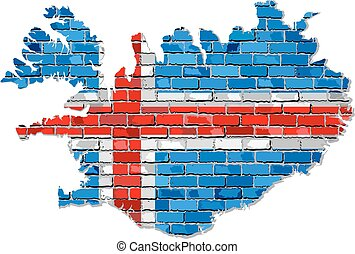 Iceland map on a brick wall