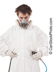 Worker with airbrush gun, isolated on white background
