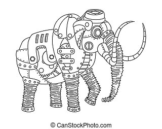 Steampunk style mammoth coloring book vector - Steampunk...
