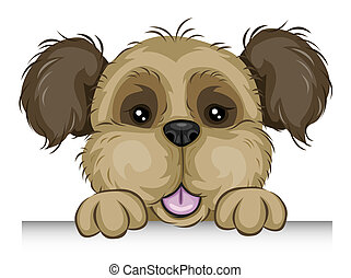 Dog Holding edge of a Board with Clipping Path