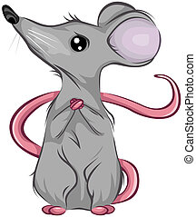 Scared Mouse Looking Up with Clipping Path
