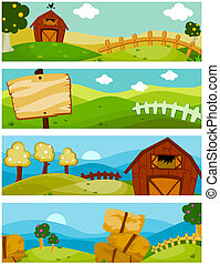 Farm Banners - Four Banners of Farm Nature Design
