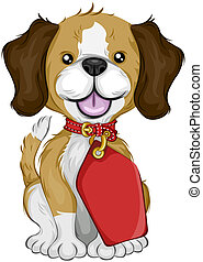 Beagle with Tag with Clipping Path