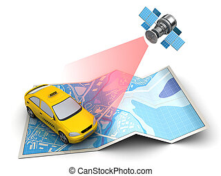 taxi tracking - 3d illustration of taxi location tracking on...