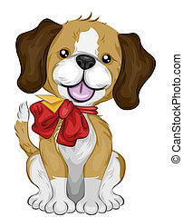 New Puppy with Ribbon with Clipping Path