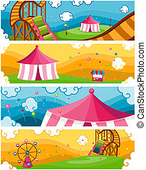 Theme Park Banners - Four Banners of Theme Park Designs