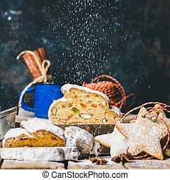 Traditional German Christmas cake Stollen with gingerbread...