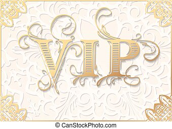 Vintage vector VIP background in light beige and gold tones....