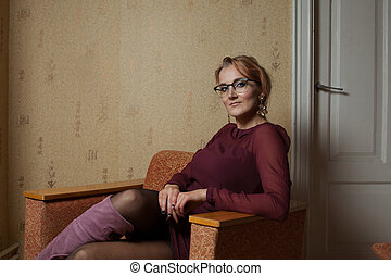 Portrait of a beautiful lady - 1970s vintage lady wearing a...