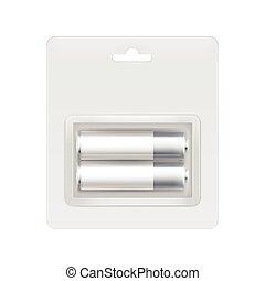 White Silver AA Batteries in Blister for branding