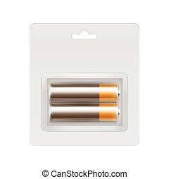 Brown Alkaline AA Batteries in Blister Packed - Vector Brown...