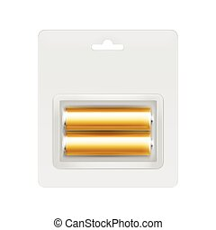 Golden Alkaline AA Batteries in Blister - Vector Golden...
