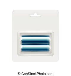 Blue Alkaline AA Batteries in Blister for branding