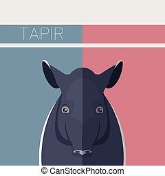 Flat postcard with Tapir - Vector image of the Flat postcard...