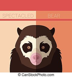 Flat postcard with Spectacled Bear - Vector image of the...