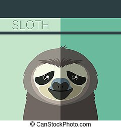 Flat postcard with Sloth - Vector image of the Flat postcard...