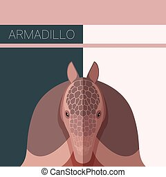 Flat postcard with Armadillo - Vecor image of the Flat...