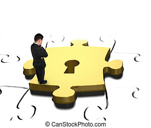 Man looking at golden puzzle piece with keyhole - Standing...