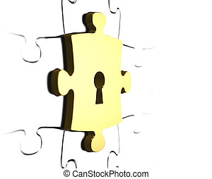 Golden puzzle piece with keyhole 3D rendering - Golden...