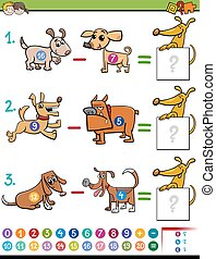 subtraction educational activity for kids - Cartoon...