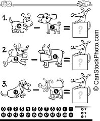 subtraction task coloring book - Black and White Cartoon...