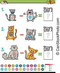 subtraction educational game for kids - Cartoon Illustration...