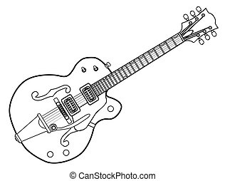 Country and Western Guitar Outline - A typical country and...