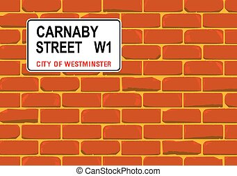 Carnaby Street Wall - The street name sign from Carnaby...