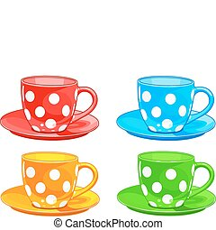 Cup and saucer - Illustration of four different color Cups...