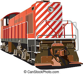 hog - Vectorial image of hog - retro style heavy locomotive,...