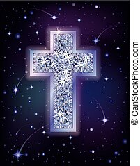 Brilliant cross in starry night sky, holiday background, vector illustration
