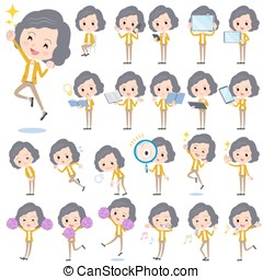Yellow jacket Middle woman 2 - Set of various poses of...