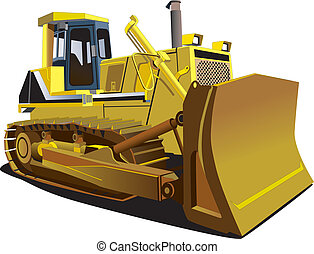 Yellow Dozer - Detailed vectorial image of track-type...